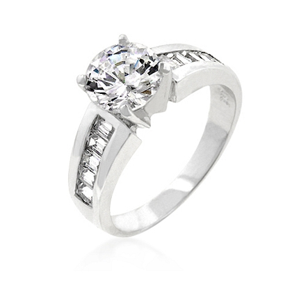 Antoinette Silver Engagement Ring 4CT CZ