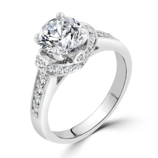 3 1ct Regal Ring Cz Contemporary Silver Engagement POZXiku