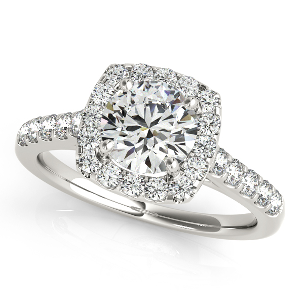 Fashionable Square Halo Diamond Engagement Ring Round Cut
