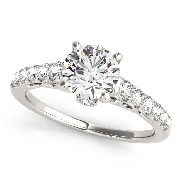 Bezel Accent Engagement Ring With Round Diamond Side Stones