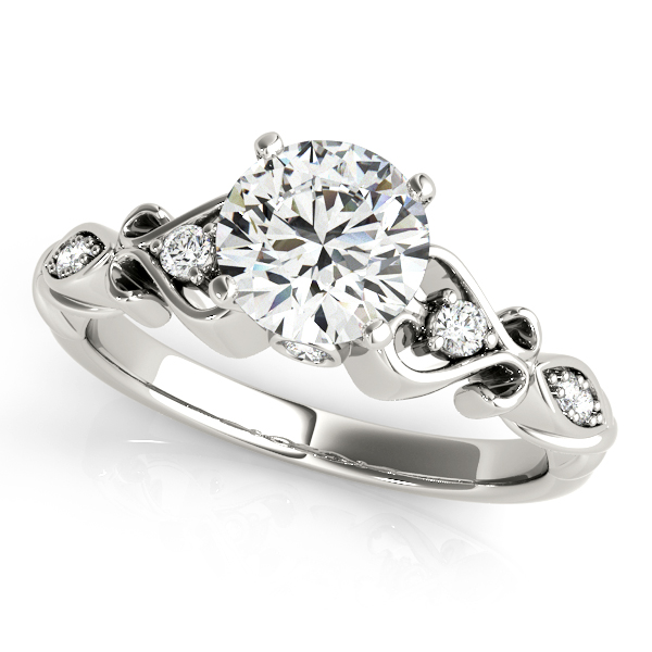 Heart Side Stone Antique Engagement Ring With Bezel Accents