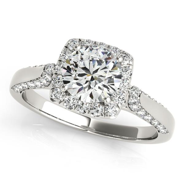 Chic Square Halo Diamond Engagement Ring Unique Side Stones