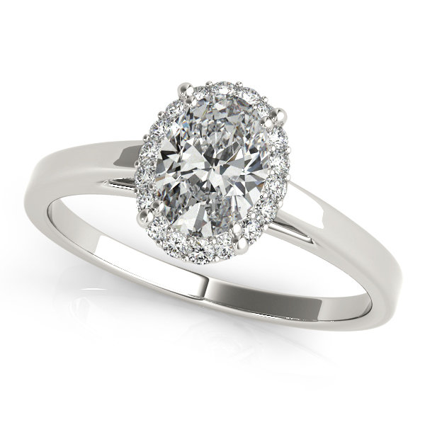Simple Stylish Oval Cut Diamond Halo Engagement Ring