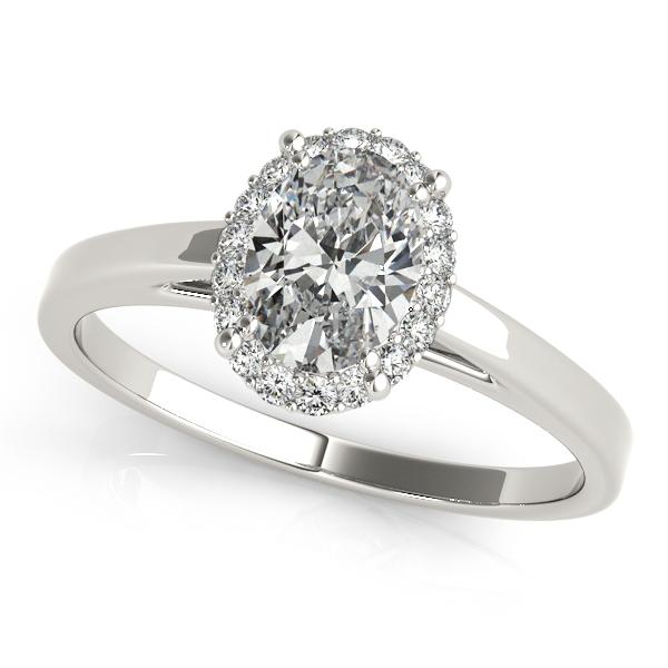 Simple Stylish Oval Cut Diamond Halo Engagement Ring