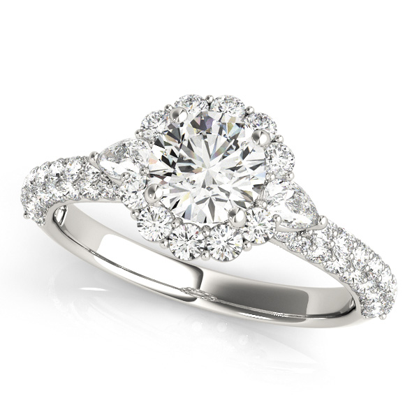 Attractive Floral Halo Engagement Ring Oval Diamond Accents
