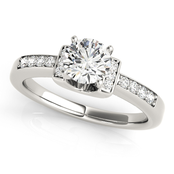lavish two tone side stone engagement ring with diamond scarf - Cheap Wedding Rings For Women