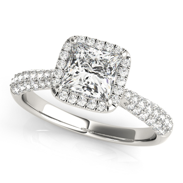 princess cut halo engagement ring - Wedding Rings Cheap