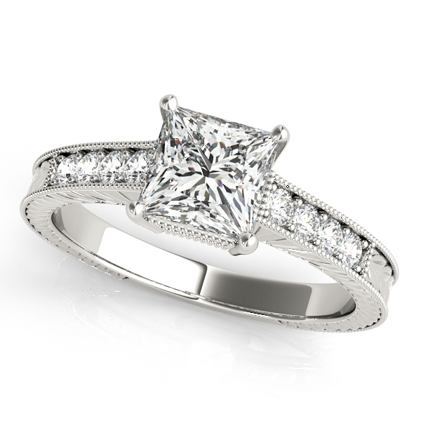 antique engagement ring princess cut diamond vintage filigree - Cheap Vintage Wedding Rings