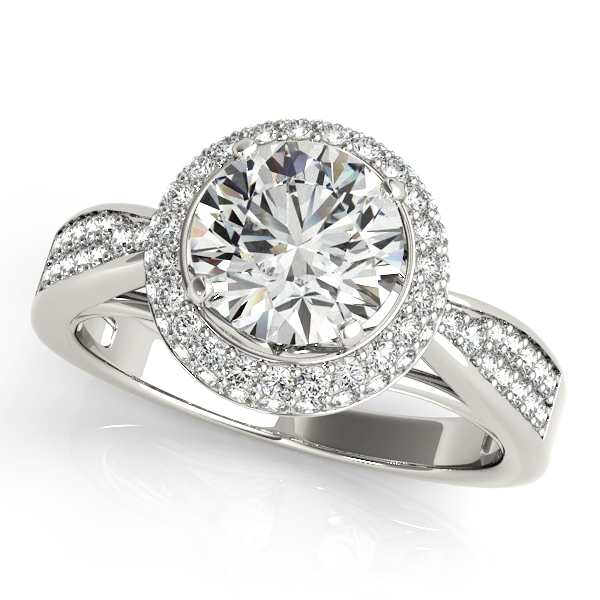 Artistic Duet Halo Diamond Engagement Ring with Side Stones