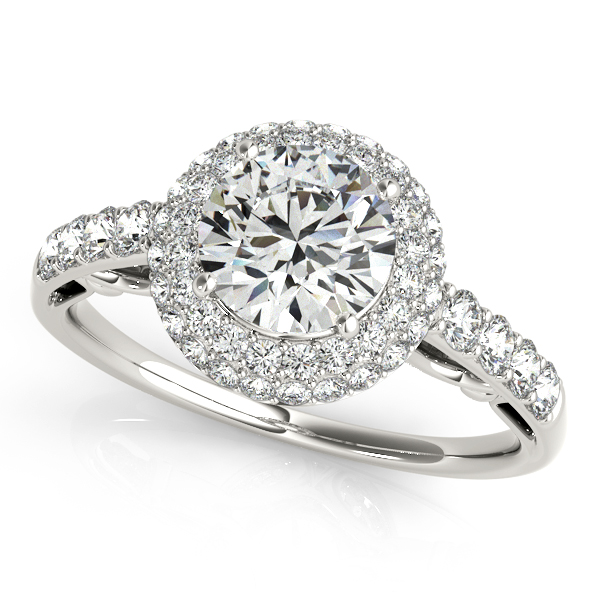 Antique Style Duet Halo Side Stone Diamond Engagement Ring