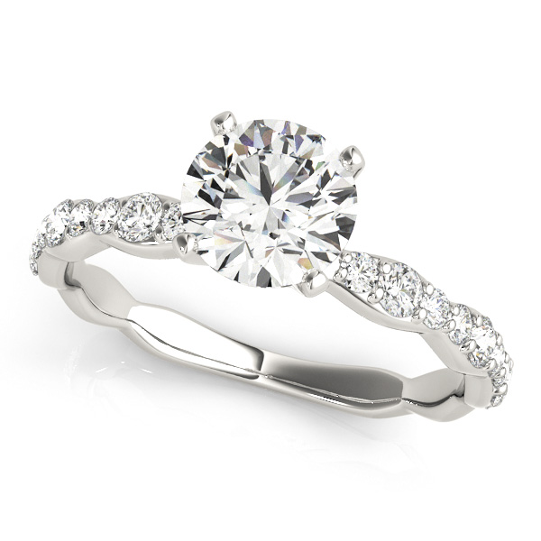 curved shank engagement ring round cut side stone diamonds - Cheap Wedding Rings For Her