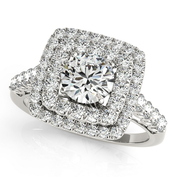 Halo Engagement Rings White Yellow & Rose Gold or Platinum