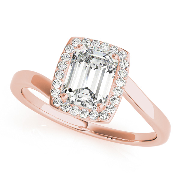 Gold Engagement Ring Emerald Cut with Emerald Cut Diamond Bypass