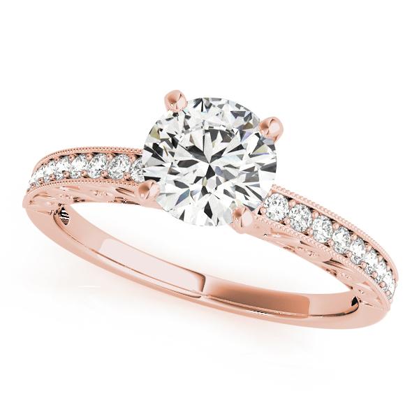 Rose Gold Engagement Ring Side Stone Antique Shank Vintage