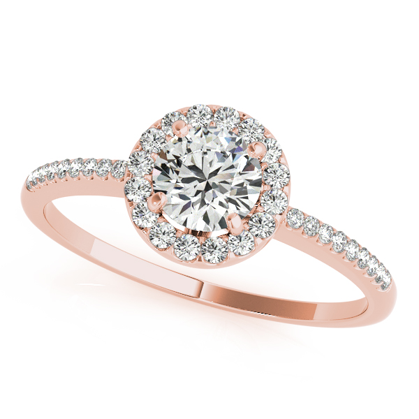 Rose Gold Engagement Ring Popular Diamond Side Stone Halo Comfort Fit