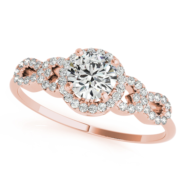f445ff0d8 Rose Gold Engagement Ring Peculiar Infinity Side Stone with Round Halo