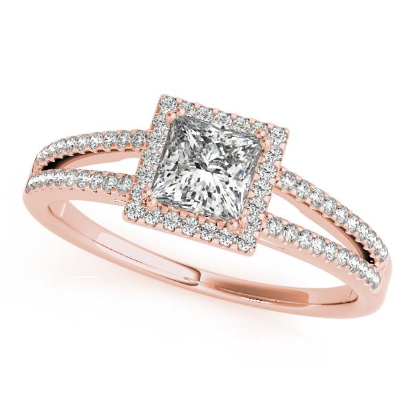 Rose Gold Engagement Ring Square Halo Princess Cut Diamond