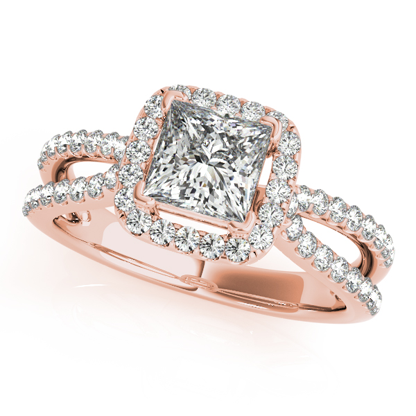 Rose Gold Engagement Ring Halo for with Princess Cut Diamond