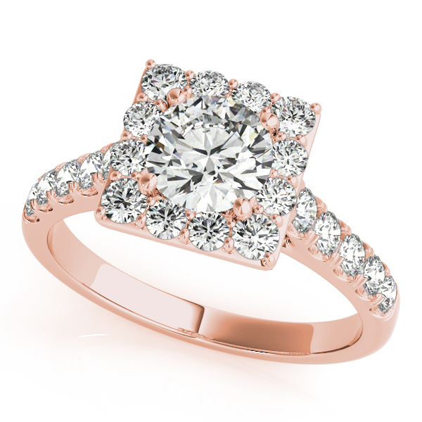 Gold Engagement Ring Avant Garde Square Halo Diamond Side Stones