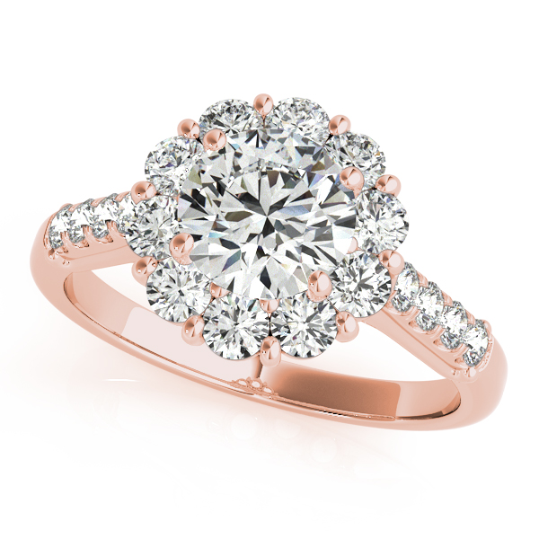 Rose Gold Engagement Ring Floral Halo Fashionable Diamond Side Stones