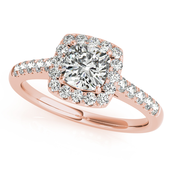 Rose Gold Engagement Ring Elegant Cushion Cut Square Halo Diamond