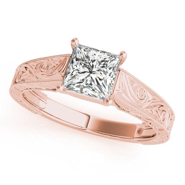 Rose Gold Engagement Ring Exquisite Princess Cut Vintage Trellis Diamond