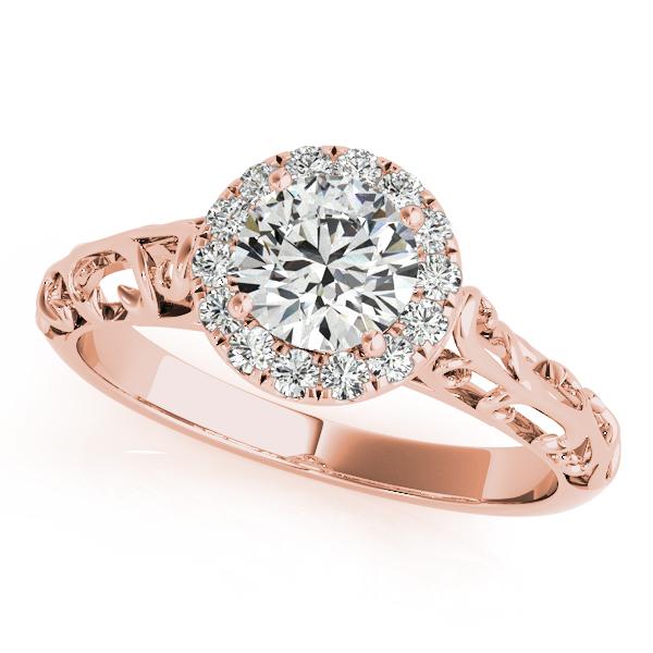 Rose Gold Engagement Ring Unique Design Antique Style Diamond