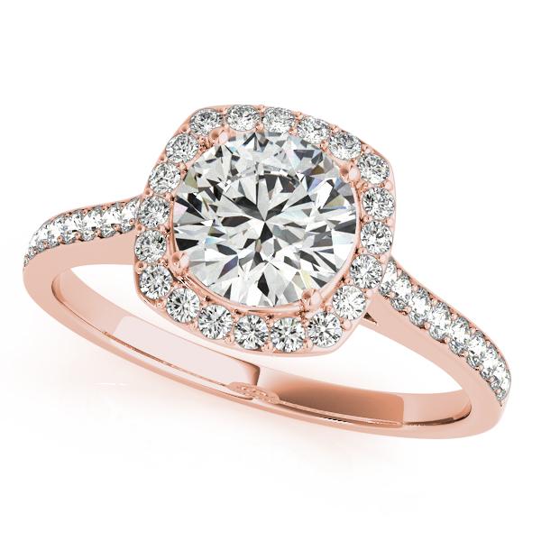 Rose Gold Engagement Ring Cushion Cut Shaped Halo Round Cut Diamonds
