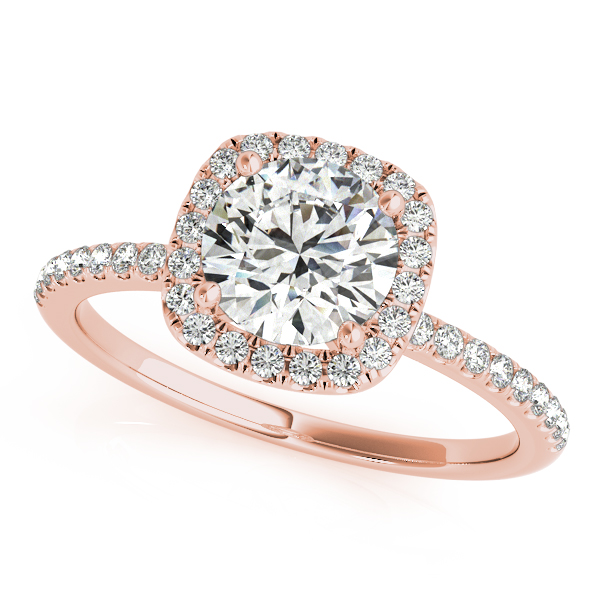 Rose Gold Engagement Ring Round Square Diamond Accent Halo