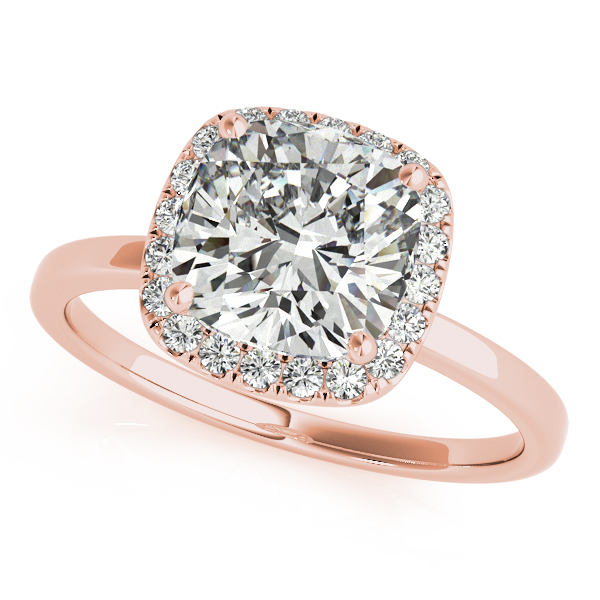 Rose Gold Engagement Ring Exclusive Cushion Cut Diamond Halo