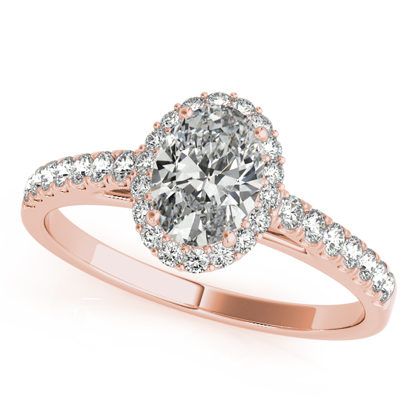 Gold Engagement Ring Elegant Oval Cut Halo with Diamond Side Stones