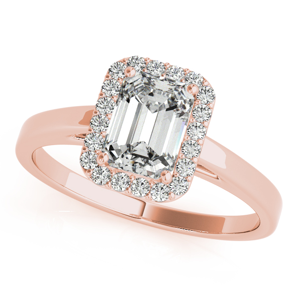 Gold Engagement Ring Emerald Cut Halo with Bridge