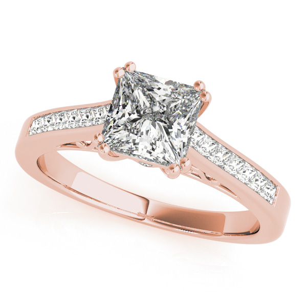 Rose Gold Engagement Ring Princess Cut Side Stone Diamond 8d2a1e4bdc05