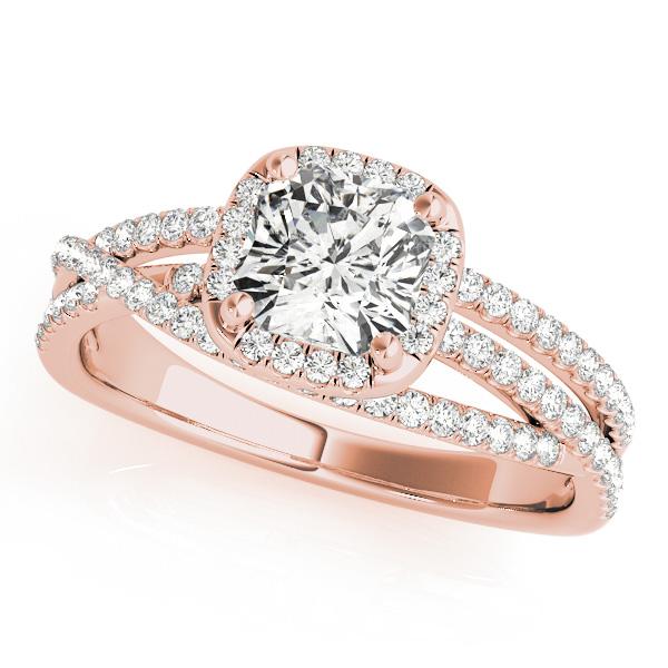 Rose Gold Engagement Ring Cushion Cut with Split Shank & Diamond Halo