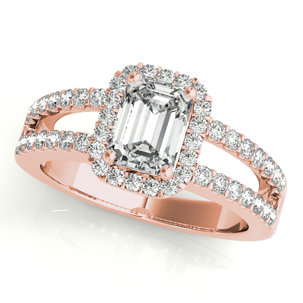 Gold Engagement Ring Emerald Cut Halo with Split Shank
