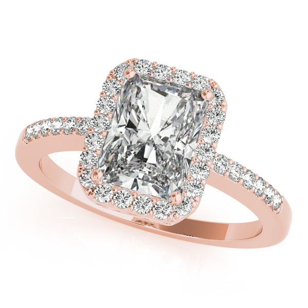Rose Gold Engagement Ring Avant-Garde Emerald Cut Halo Diamond