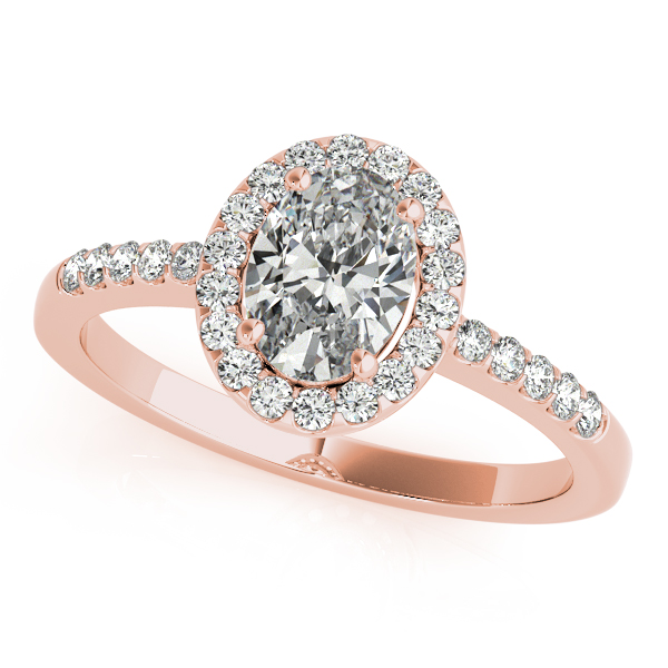 Rose Gold Engagement Ring Oval Cut Round Cut Diamond Side Stones