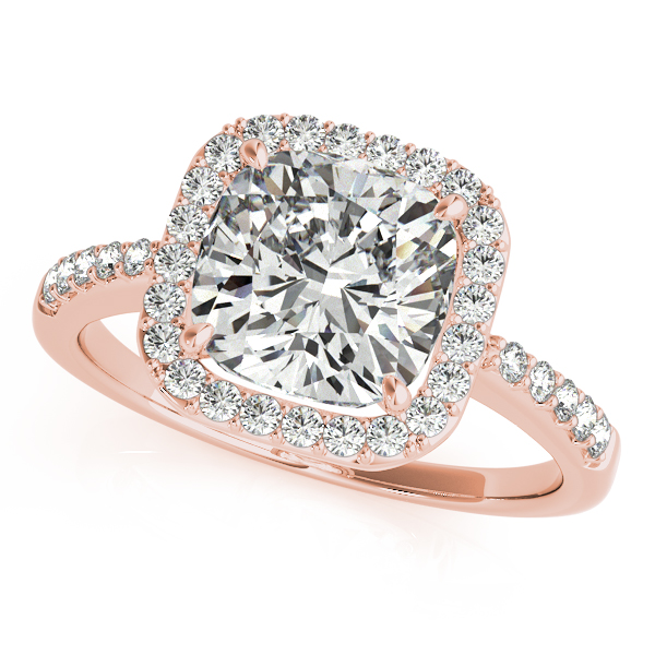 Rose Gold Engagement Ring Fresh Cushion Cut with Side Stones & Halo
