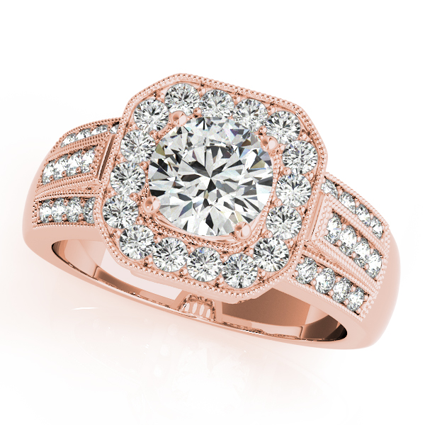 Rose Gold Engagement Ring Filigree Vintage With Nice Square Halo