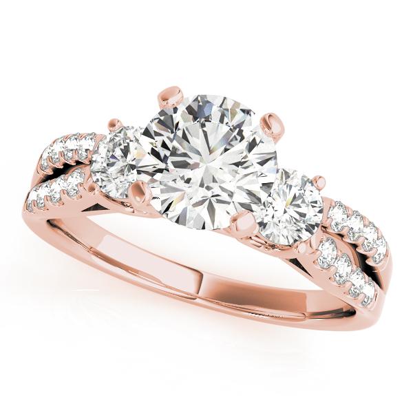 Rose Gold Engagement Ring Modern Split Shank Three Stone G Setting