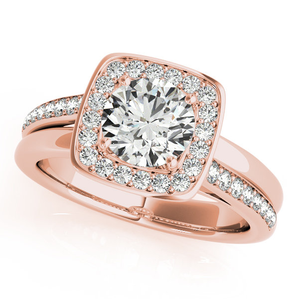 Rose Gold Engagement Ring Modern Halo With Split Shank Accent Diamonds