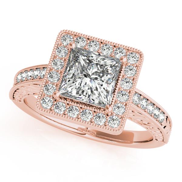 Rose Gold Engagement Ring Bold Square Halo Pretty Princess Cut Diamond