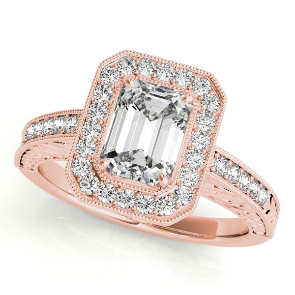 Gold Engagement Ring Luxury Emerald Cut Halo Filigree Diamond