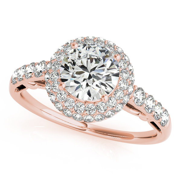 Rose Gold Engagement Ring Antique Style Duet Halo Side Stone Diamond