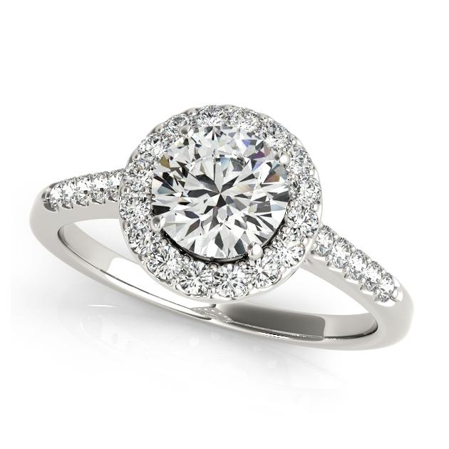 Cut Halo Diamond Engagement Ring