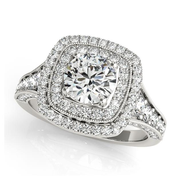 Upscale Vintage Halo Engagement Ring Beautiful Filigree