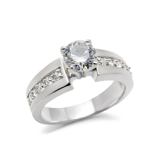 Engagement Ring Stainless Steel Clear Non-Diamond