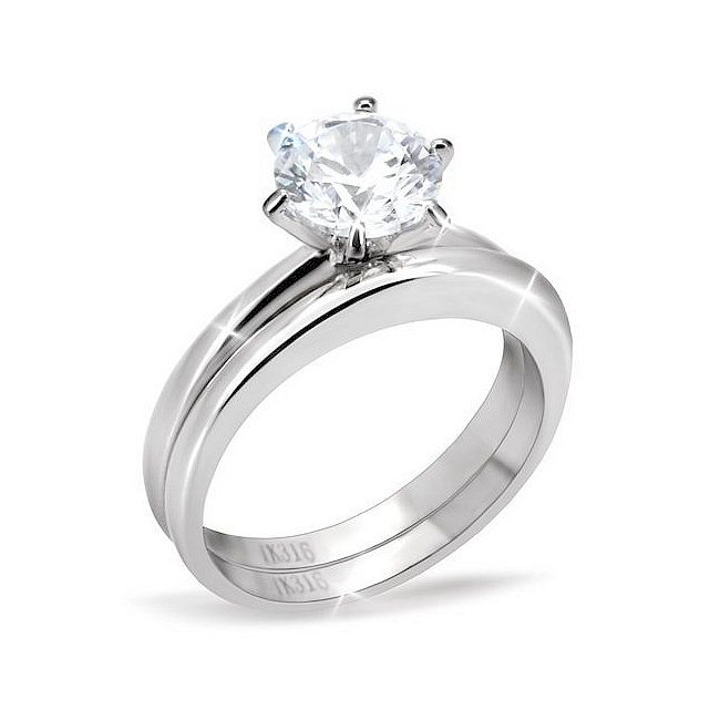Engagement Ring Stainless Steel Clear CZ
