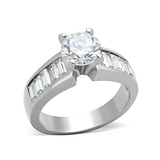 Traditional Round Cut Engagement Ring Stainless Steel Clear