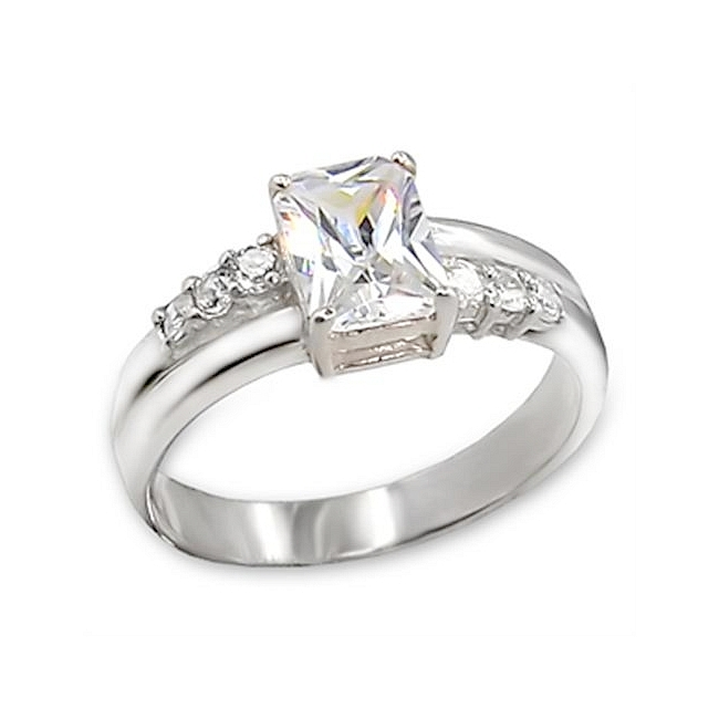 Emerald Cut Non-Diamond Engagement Ring Sterling Silver 925